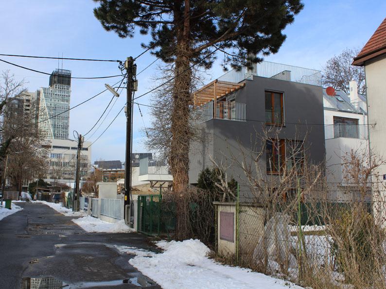 In dieser Siedlung an der alten Donau liegt das Haus von Dr. Konstantin.