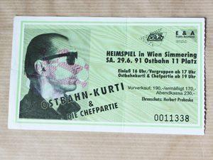 Eintrittskarte, Konzert, Ostbahn XI-Platz, Ostbahn Kurti