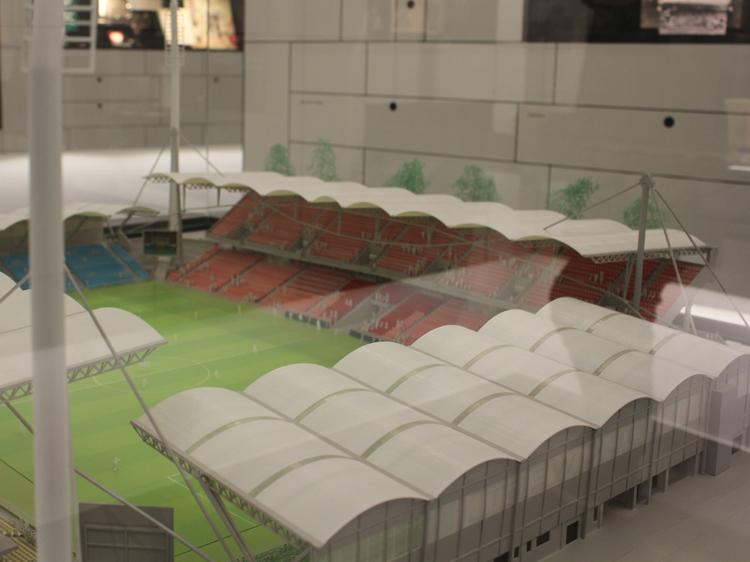 Auch das alte Stadion steht als Modell im Rapideum.