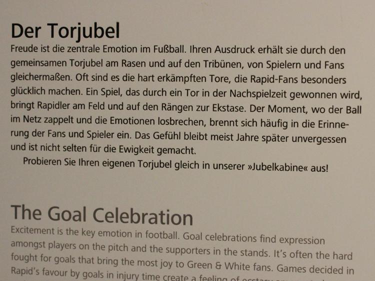 Jubeln wie ein Rapidspieler: Der Torjubel wird aufgezeichnet und bewertet.