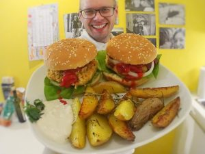 seitan-burger, fleischersatz, burger, seitan, rezept, selbstgemacht, selbstgemachter seitan, vegan, veganer burger, video, rosmarinkartoffeln, vegane knoblauchsoße, zutaten