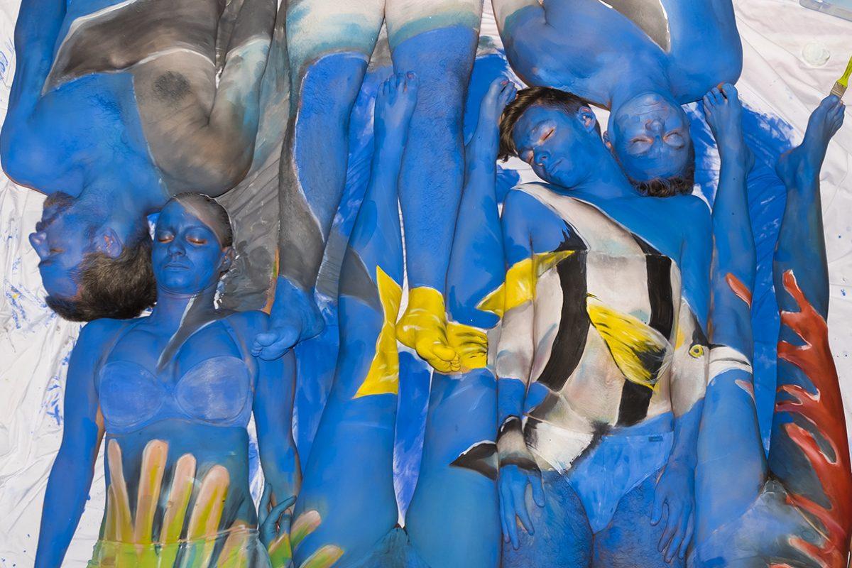 Bodypainting für die Meere – ein Weltrekordversuch in Wien