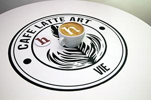 Kaffee, Heldenlogo, Latte Art, H, Milchschaum