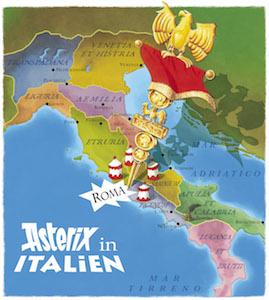 asterix in italien, landkarte, italien, markierung rom, band 37