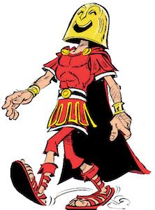caligarius, maskiert, wagenlenker, comic-figur, asterix in italien, bösewicht