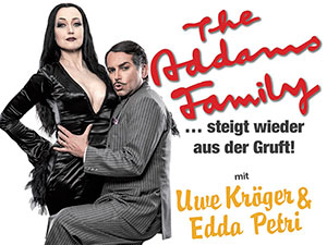 the addams family, musical, addams family musical, museumsquartier, wien, uwe kroeger, edda petri, gomez, morticia, plakat