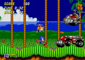 sonic the hedgehog 2, sonic 2 test, sonic, tails fliegt, dr eggman, endboss, emerald hill zone