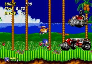 sonic the hedgehog 2, sonic 2 test, sonic, tails fliegt, dr eggman, endboss, emerald hill zone