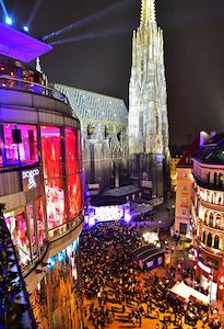 stephansplatz, graben, haas haus, wiener silvesterpfad, 2017, location, party, walzer, highlights