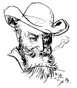 wilhelm busch, selbstportrait, illustration, schwarz-weiß, zeichnung, 1894