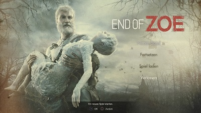 end of zoe, resident evil dlc, startmenü, playstation 4, test