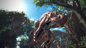 monster hunter world test,t-rex, dinosaurier