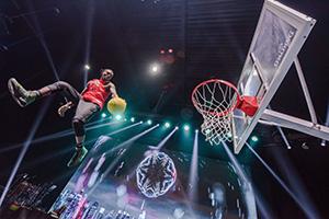 afrika, basketball, slam dunkers, akrobatik, show