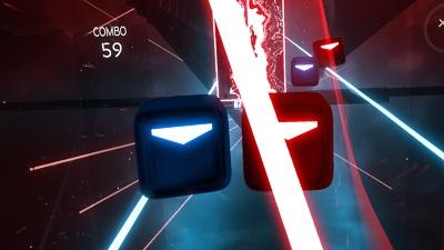beat saber, screenshot, combo, lichtschwert, rot