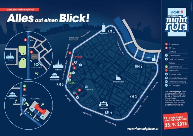 Laufwettbewerb, Streckeninfo, Plan, Vienna Night Run, 2018