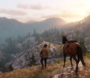 red dead redemption 2, arthur, horse, landschaft