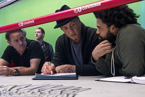 Sylvester Stallone, am Set von Creed 2, Regisseur Steven Caple Jr.,