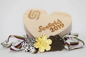 medaillen, seefeld, 2019, nordische ski-wm, gold, silber, bronze, holzherz, logo