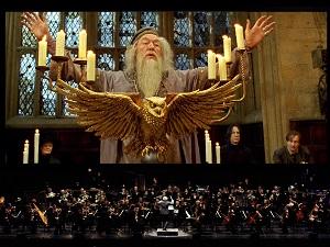dumbledore, harry potter in concert, musiker, instrumentalisten, orchester