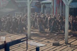 zombies, freaker, horde, holzfällercamp, cutscene,
