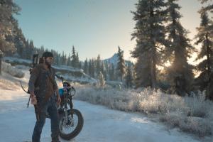 schnee, berge, oregon, deacon, bike, sonnenuntergang,
