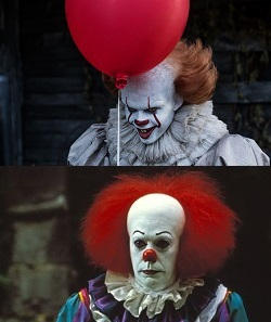 bill skarsgard, tim curry, es, it, clown, pennywise