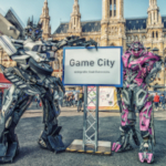 game city 2019, schild, roboter cosplay, mecha cosplay, rathaus wien,