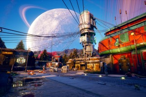 Mond, Stadt, Gebäude, Obsidian, The Outer Worlds Test, RPG, Review