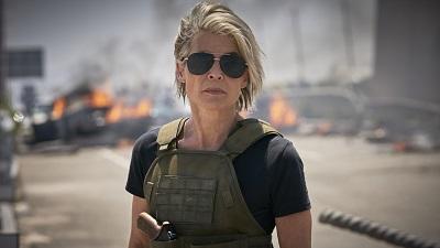 Linda Hamilton, Terminator 6, Dark Fate, Sarah Conner, Schussweste, Brücke, Sonnenbrille