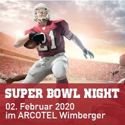Super Bowl Night 2020, Arcotel Wimberger, Flyer, Programm, Aviso