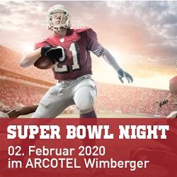 Super Bowl Night 2020, Arcotel Wimberger, Flyer, Programm, Aviso