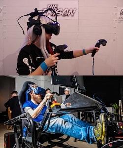 virtual reality vienna, Mädchen mit VR Brille und Headset, Rennsitz im VR Playground, Wien