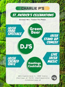 st. patricks day 2020, charlie ps, programm