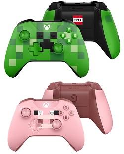 xbox one controller, minecraft design, pig, rosa, creeper, grün, gewinnspiel