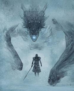 Viserion und der Nachtkönig aus Game of Thrones, Zeichnung von Peter Bergting aus dem Buch Drachen, die geflügelten Biester