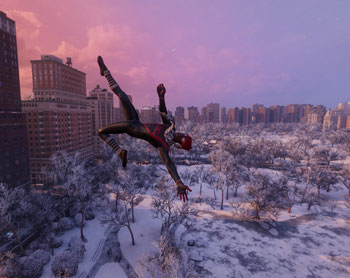 spider-man, miles morales, winter, central park
