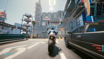 cyberpunk 2077, kritik, weibliche V, motorrad, japan town, highway, aussicht,night city,