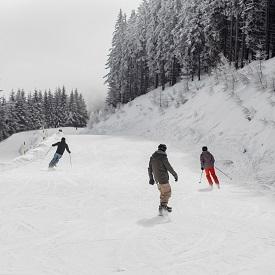 Familienabfahrt, blaue Piste, Semmering, Skifahrer und Snowboarder
