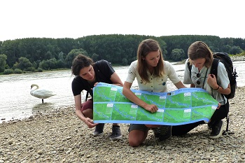 Orther Inseln, Ranger mit Karte, Donauufer, Schwäne