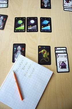 Space Dragons, Zielkarte, Punkte, Block und Stift