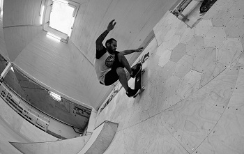 Wolfgang Jehlik in der Skatehalle Wien